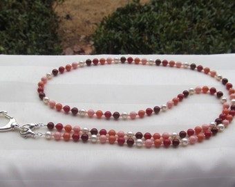 Red Coral ID Badge Lanyard Swarovski Pearls Bead Lanyard Necklace ID Badge Holder