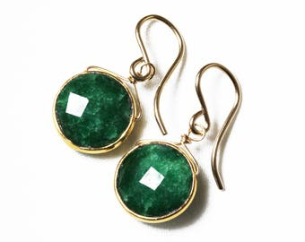 Genuine Emerald Earrings Green Emerald Earrings 18k Gold Bezel Earring May Birthstone Precious Gemstone Emerald Jewelry BZ-E-105.1-Em/g