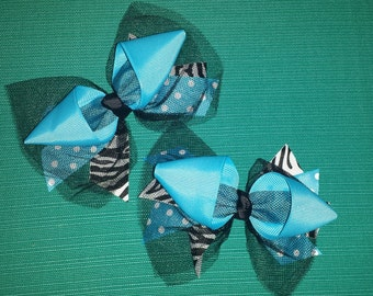Set of small blue and Zebra print hair bows