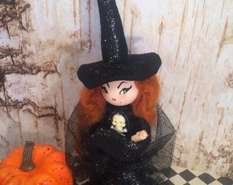 Witch doll witch tree topper halloween doll halloween decor vintage retro inspired art doll