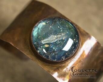 Hammered Copper Blue Glass Cuff Bracelet