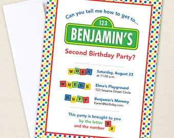 Sesame Street Party Invitations - Professionally printed *or* DIY printable