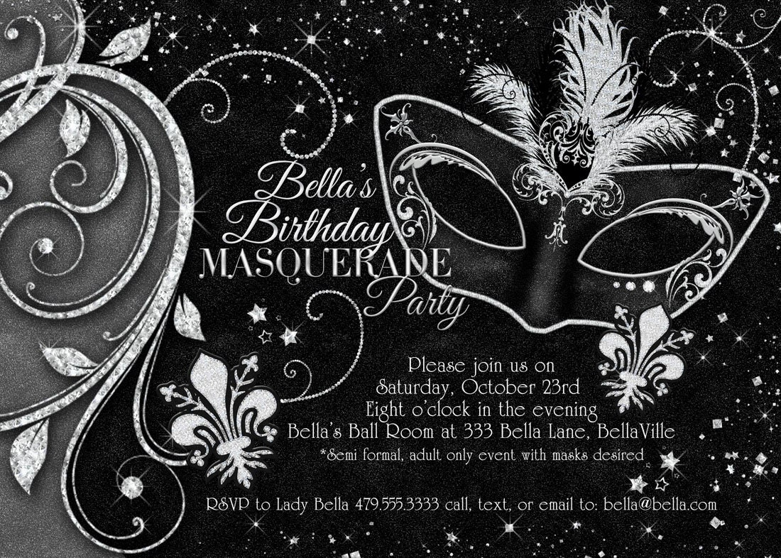 Black White Masquerade Ball Invitation Mardi Gras Invitation