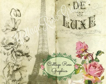 French Ephemera Digital book page pink roses single image BUY 3 get one FREE download