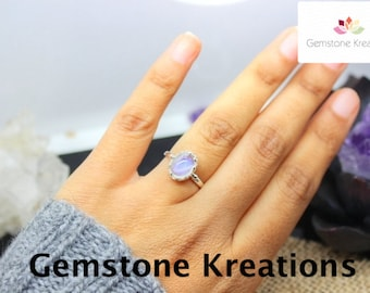 Moonstone Ring, 925 Sterling Silver Ring, 18K gold plated Ring, Stacker Rings, Birthstone Rings, Midi Rings