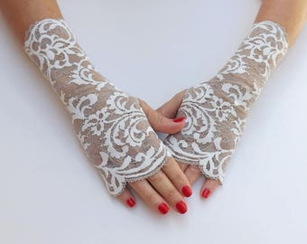 Lace fingerless gloves. Ivory filigree lace gloves. Bridal gloves. Formal gloves. Lace mittens. Bridesmaids gloves. Evening gloves.