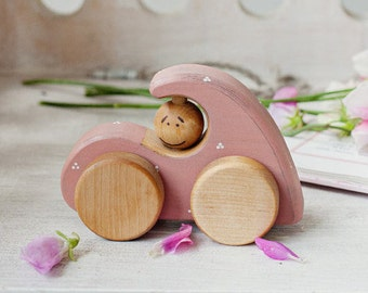 Baby Girl Gift, Wooden Toys, Wooden Car Toy for 1 Year Old, Girly Car Toy, Wooden Toy Cars, Non Toxic Toys, Pink Car