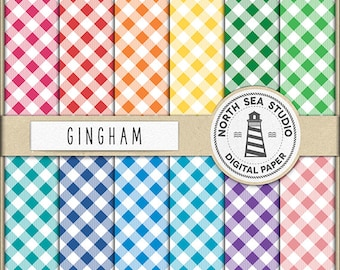 PICNIC TIME Gingham Digital Paper Gingham Paper Gingham Backgrounds Digital Scrapbooking 12 JPG 300 dpi Files Download BUY5FOR8