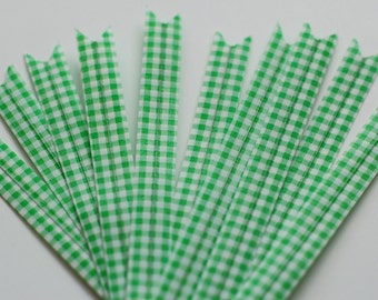 Green Gingham Twist Ties (10pk) - LAST PACK