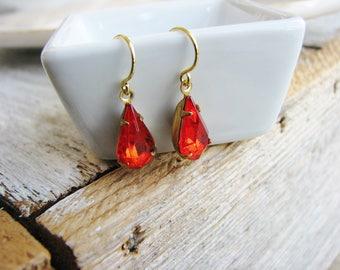 Red Orange Vintage Glass Jewel Earrings, Estate Style Cut Glass Gem Earrings, Tear Drop Gold Filled, Modern Bridal Jewelry
