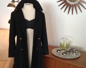 1960s Italian Wool Coat--GiBi Made in Italy - Goth, Steampunk, Victorian, Romantic