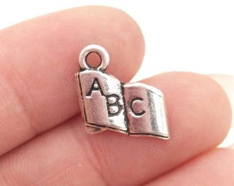 TEN (10) Silver Book Charms