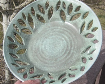 Bowl with Leaves -  Decorative Handmade Pottery - See shop for more