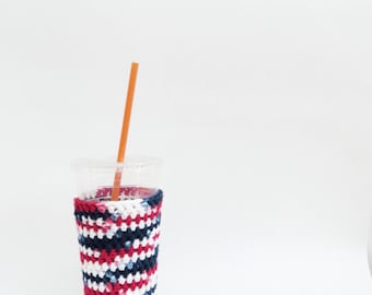 4th of July iced coffee cozy. Red White and Blue. Crochet coffee cozy. Patriotic cozy. Cotton cup sleeve. Eco friendly cup jacket. Bbq cozy