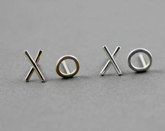 Gold XO earrings, mix and match studs, hugs and kisses sterling silver earrings