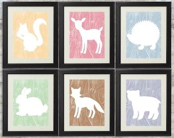 Woodland Nursery Art , Forest Nursery Art, Forest Animals, Little Critters - set of 6 -  8x10 Printables
