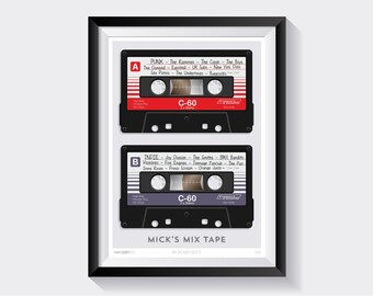Personalised Mix Tape Cassette Print, Poster, Music, Cassette, Tape, Recording, Walkman