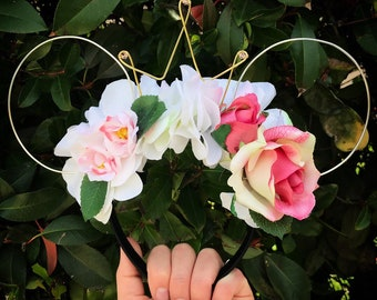 Wire mouse ears, floral ears, wire ear headband, tiara crown, pink rose flower crown, sleeping beauty, briar rose flower crown, Dapper Day