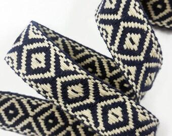 Tribal Aztec Ivory Ribbon Trim, Knitted Rhombus Boho Trim for Fashion Crafts
