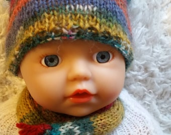"Hand Knitted Hat and Scarf for  Zapf Creations 13"" Baby Doll (# 0014)"