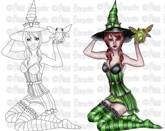 Digital Stamp Set - Includes Colored Stamp - Witch Stamp for Crafting and Card Making by Nikki Burnette - Ashlyn - COMMERCIAL USE