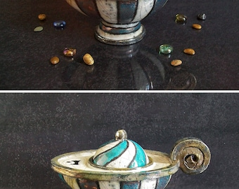 ceramic oil lamp turquoise and white, lamp of aladdin, vintage oil lamp inspired, oil lamp customizable, oil lamp lantern, raku pottery lamp