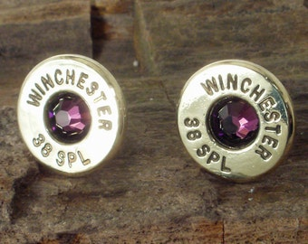 Bullet Earrings - Winchester - February Birthstone - Amethyst