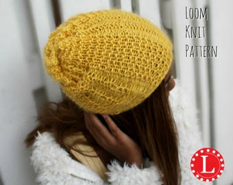 Loom Knitting Patterns Hat Waffle Rib Stitch Slouchy with Video Tutorial EASY for Beginner by Loomahat