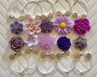 Flower Wine Charms - set of 10 - girls night out, party favors, hostess gift, baby shower, bridal shower, wedding, cute wine charms, rainbow