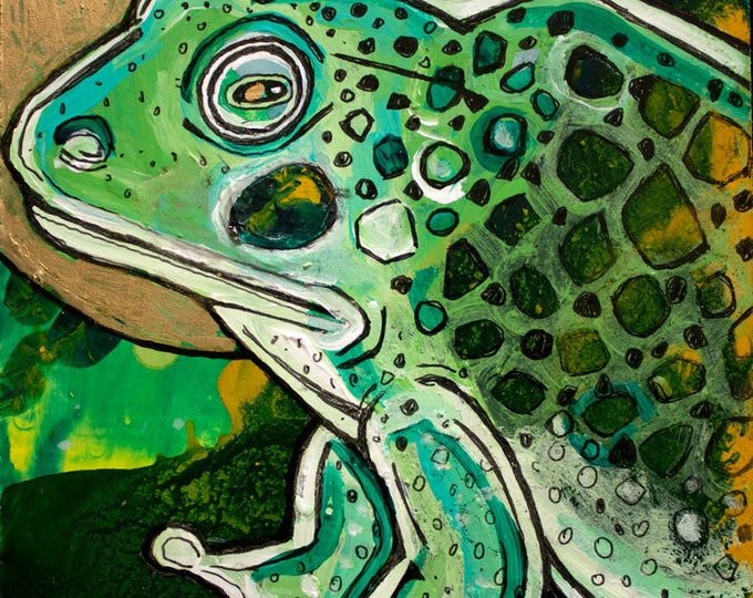 Original Miniature Painting of Bullfrog by Lynnette Shelley