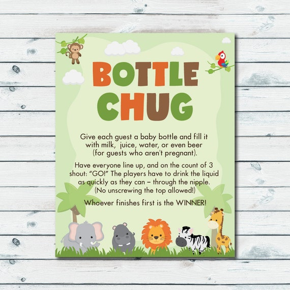 Bottle Chug Game Printable Drink Up Baby Shower Game