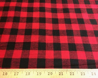 """Black/Red Buffalo Plaid 100% cotton flannel fabric 58"""" wide sold by the yard"""
