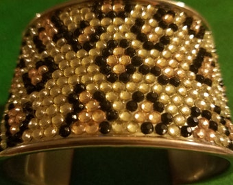 Vintage 80's rocker animal print bracelet cuff silver metal rhinestone look plastic nubs leopard cheetah design NWT
