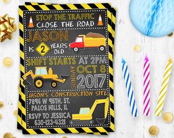 Under construction birthday invitation Birthday card Digital printable Dump Truck invitation