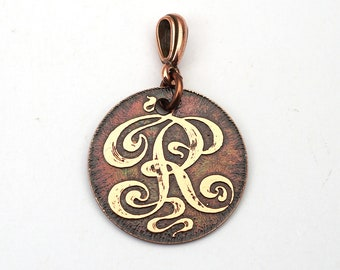 Copper letter R pendant, small round flat metal etched monogram, 25mm