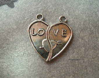 """(BA4) Pair of heart charms cut/separated puzzle Silver """"Love"""""""