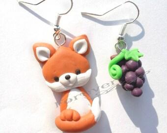 Earrings with Fox and grapes fimo gift girl women kawaii
