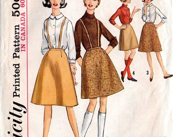 """Vintage Early 60's Bobby Socks-er Skirt with Suspenders Pattern: Simplicity 5079; size """"teen"""", waist 25"""", hips 34""""; """"Simple to Make"""""""