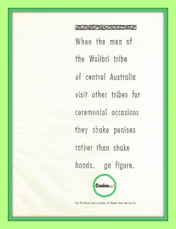 Items similar to the walibri tribe of australia shake penises rather items similar to the walibri tribe of australia shake penises rather than shake hands in 1991 condomania vintage magazine ad print ephemera nostalgia on m4hsunfo