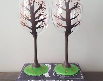 Fall tree wine glasses