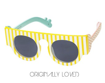Retro 1990s Le Specs Colorful Art Sunglasses With The Colors Of Yellow, Pastel Pink And Pastel Blue [Never Worn - New Old Stock]