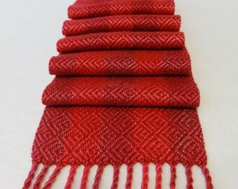 Hand Woven Silk Scarf, Silk Scarf, Woven Silk Scarf, Handwoven Scarf, Hand-dyed Silk Scarf, A Rose is a Rose, Rose, Valentine's Day - #14-18