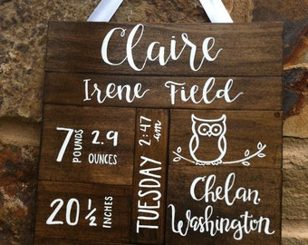 Baby stats, Birth stats, Personalized Baby gift, New Baby gift, Baby Stats sign, Birth Announcement, rustic nursery decor, baby statistics