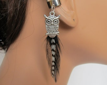 Ear Cuff Black and Grizzly Feathers Silver Owl Charm Gift Under 10