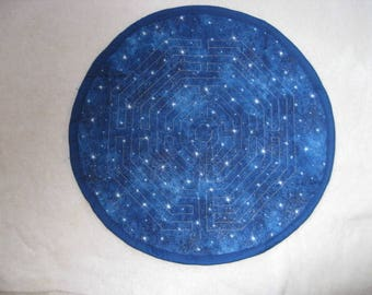 Quilted Chartres Finger Labyrinth, Celestial