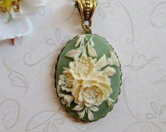 Rose cameo necklace, green, long chain, holiday gift, womens gift, flower pendant