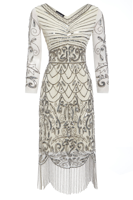 Tabitha Off White Embellished Dress 20s Great Gatsby