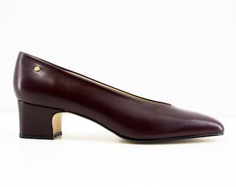 """Size 7: Vintage Etienne Aigner """"BLISS"""" Maroon / Oxblood Pump Block Mid Heel - Made in Spain"""