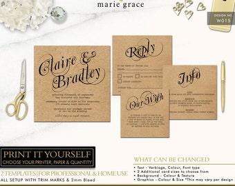 Rustic Wedding Invite, Calligraphy Wedding Invitation, Kraft Paper Wedding Invitation