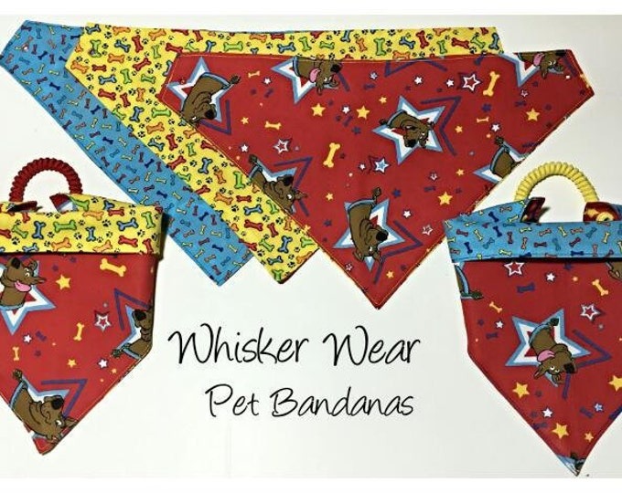 everyday wear, scooby doo reversible dog scarf, dog bandana, pet scarf, pet bandana, pet attire, pet clothing, reversible, everday wear